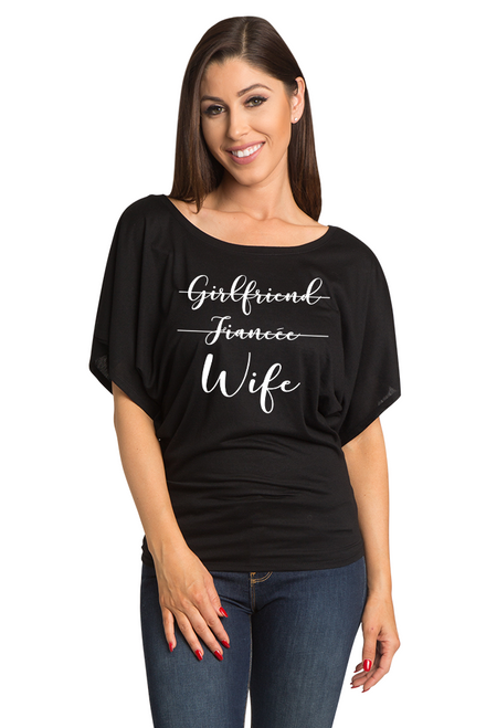 Zynotti Girlfriend, Fiancee, Wife Bachelorette Engagement Party Black Tee Shirt Top