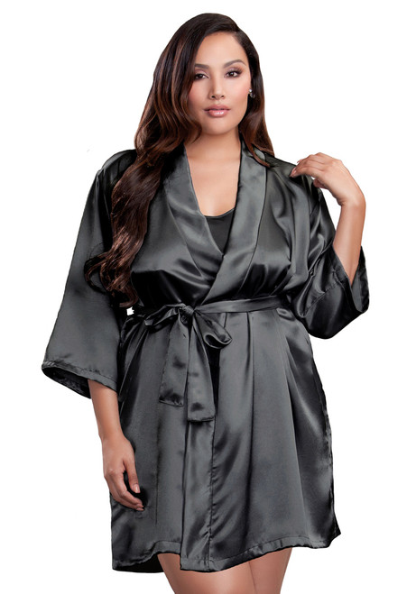 Zynotti Plus Size Wedding Getting Ready Bridal Party Kimono Charcoal Grey Satin Robe