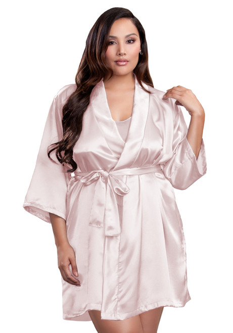 Zynotti plus size wedding getting ready bridal party kimono blush pink satin robe