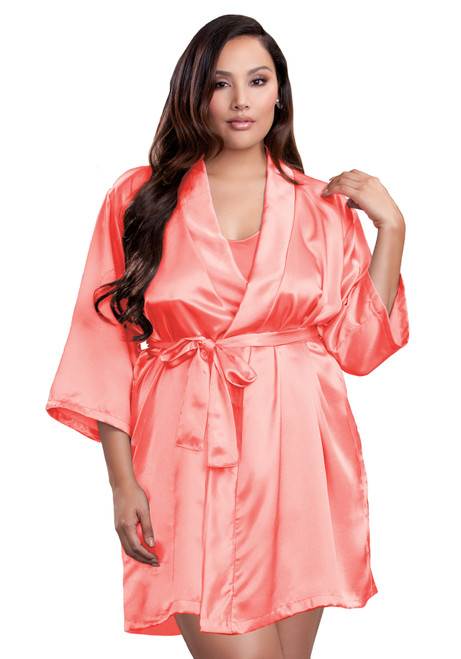 Zynotti plus size wedding getting ready bridal party kimono coral pink orange satin robe for bride, bridesmaids, maid of honor, matron of honor, mother of the bride and mother of groom