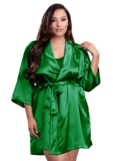 Zynotti plus size wedding getting ready bridal party kimono emerald green satin robe for bride, bridesmaids, maid of honor, matron of honor, mother of the bride and mother of groom