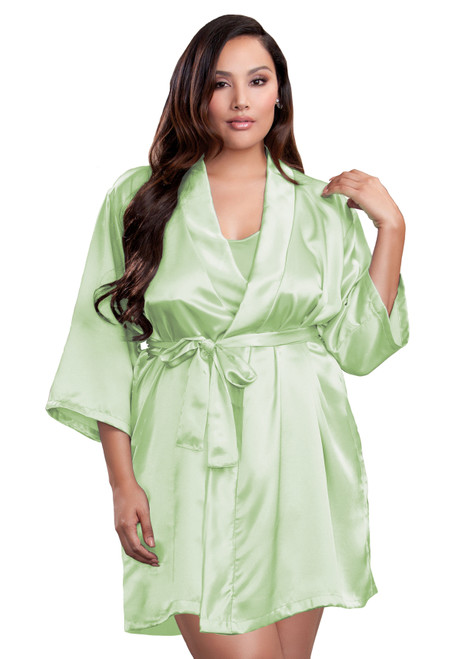 Zynotti plus size wedding getting ready bridal party kimono sage green satin robe for bride, bridesmaids, maid of honor, matron of honor, mother of the bride and mother of groom