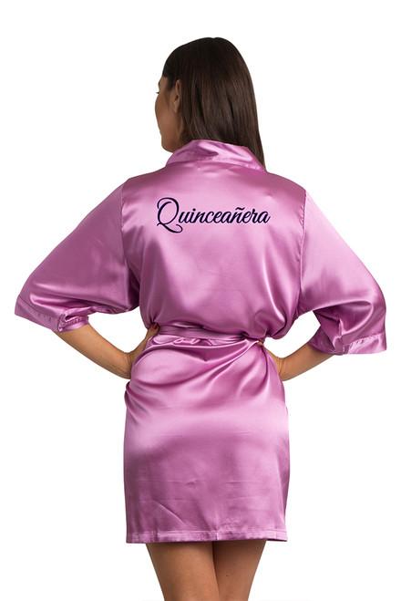 Zynotti custom embroidered quinceanera kimono orchid purple satin robe. Bata bordada de quinceanera . Zynotti personalizado bordado quinceañera kimono orquídea púrpura satinado túnica