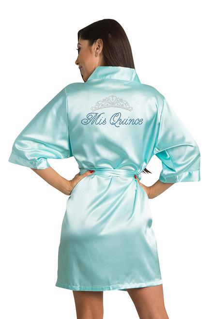 Zynotti rhinestone Mis Quince Aqua Satin Robe
