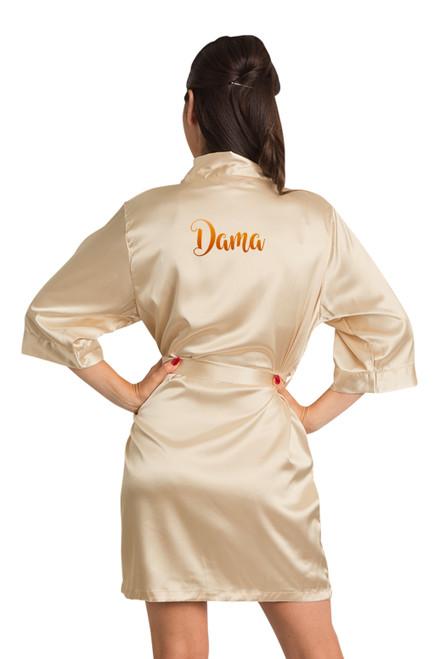 Zynotti metallic print dama champagne gold satin robe