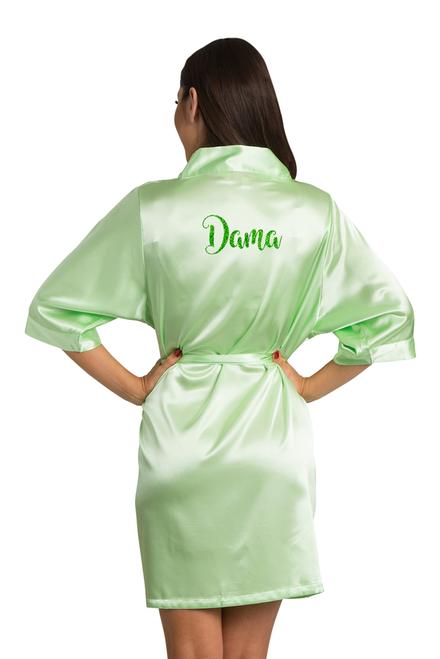 Zynotti glitter print dama lime green satin robe for quinceanera