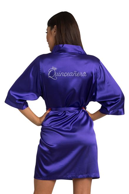 Zynotti Rhinestone Quinceanera Purple Satin Robe