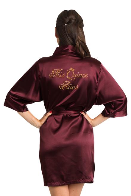 Zynotti Rhinestone Mis Quince Años Quinceañera Wine Burgundy Satin Robe