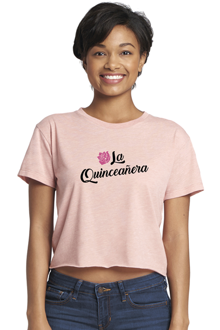Zynotti La quinceanera pink rose crop tee