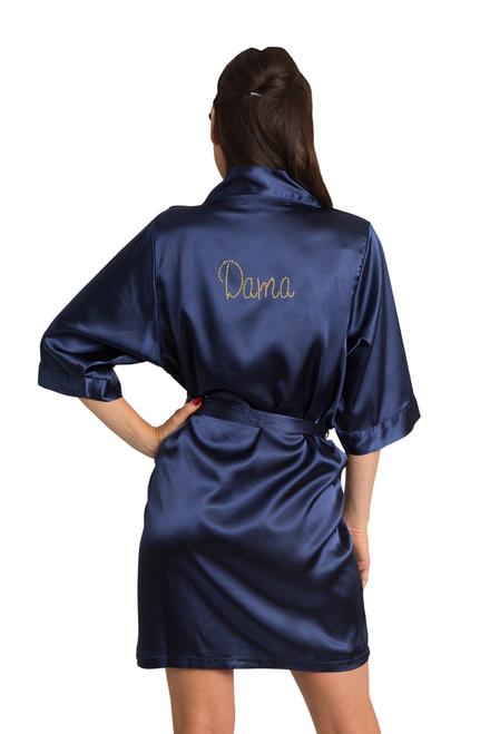 Zynotti Custom Rhinestone Dama Navy Blue Satin Kimono Robe