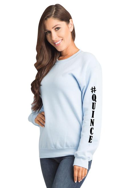 #Quince Crewneck Sweatshirt Sweater in Light Blue | La Quinceañera