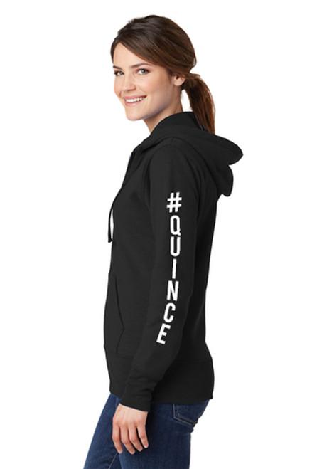 #Quince Full-Zip Hooded Sweatshirt in Black Crop Side Image   La Quinceañera