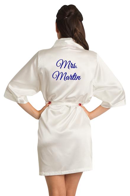custom off white satin robe