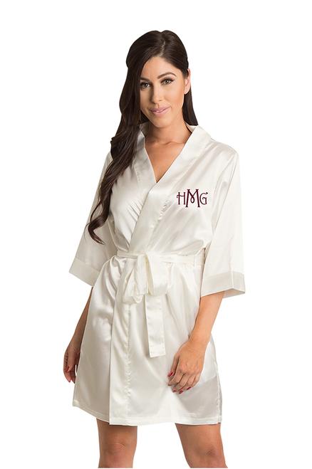 Personalized Embroidered White Monogram Robe