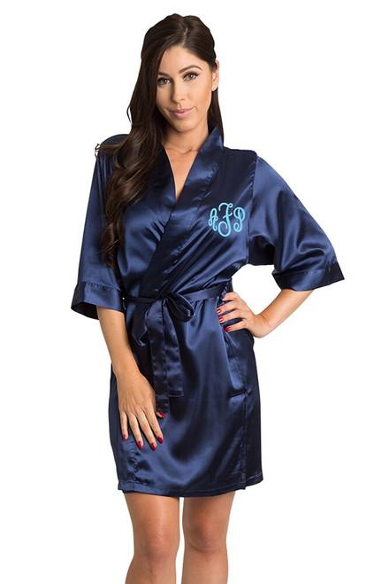 Personalized Monogram Navy Satin Robe