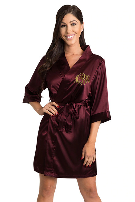 Personalized Embroidered Monogram Burgundy Robe