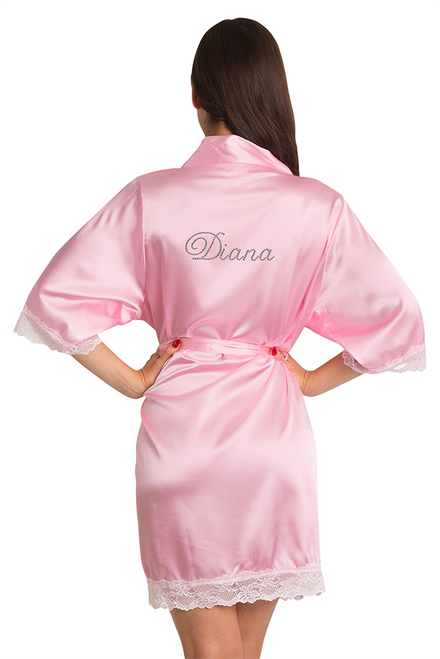 Custom Rhinestone Lace Burgundy Satin Robe