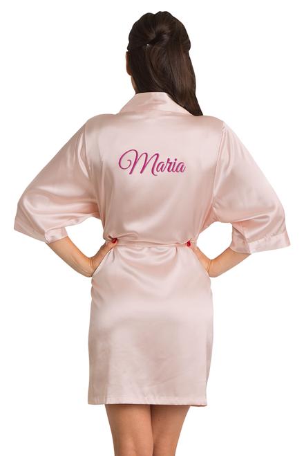 custom blush pink robe