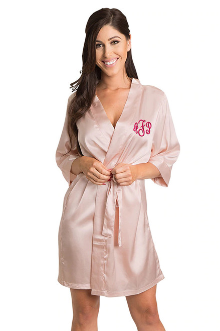 Personalized Embroidered Monogram Blush Robe
