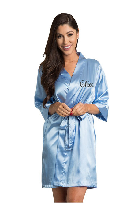 Personalized Embroidered Sky Blue Satin Robe Front Crop