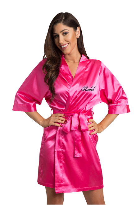 Personalized Embroidered Hot Pink Satin Robe