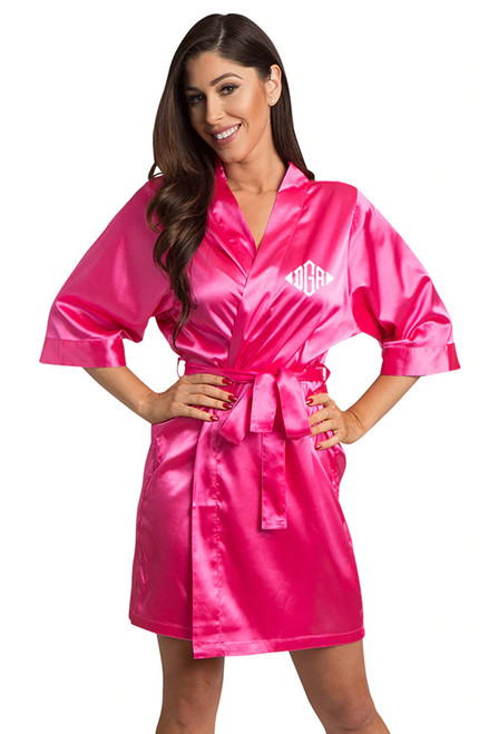 Personalized Embroidered Monogram Hot Pink Robe