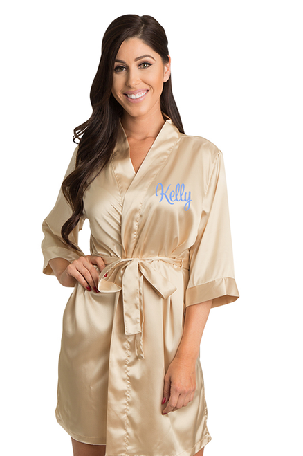 Personalized Embroidered Gold Satin Robe