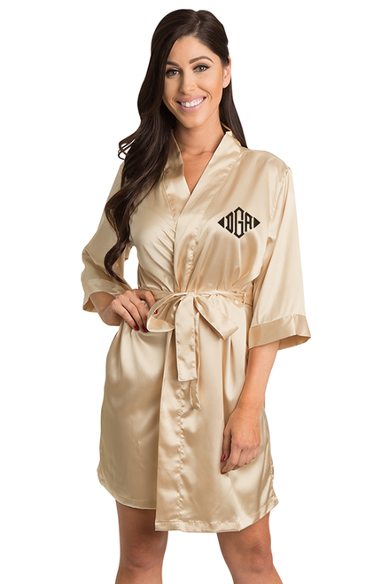 Personalized Embroidered Monogram Gold Robe