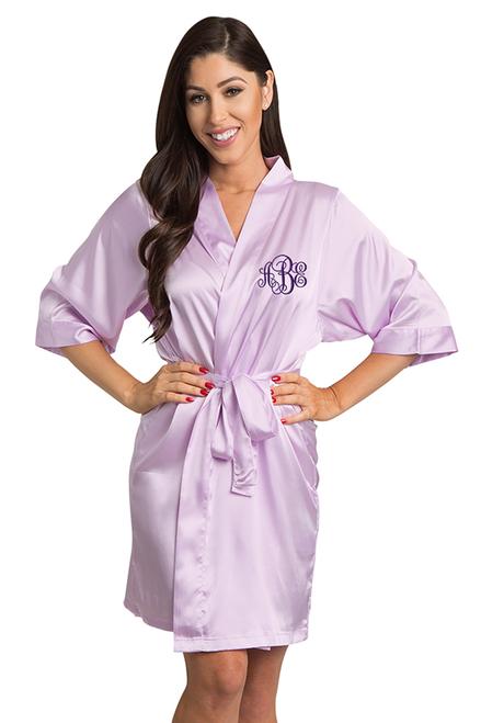 Custom Embroidered Monogram Lavender Satin Robe
