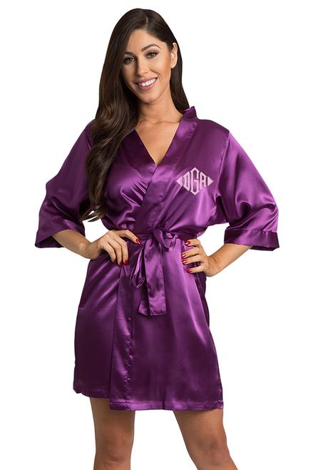 Custom Embroidered Monogram Eggplant purple Robe