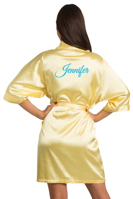 personalized yellow satin robe