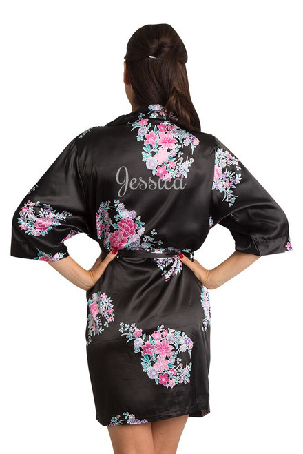 Black Personalized Glitter Floral Robe Back