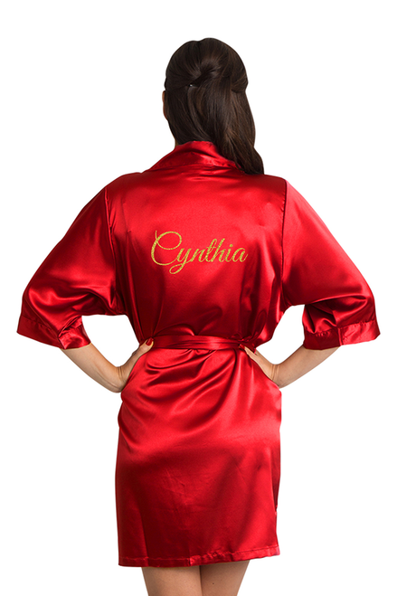 Personalized Glitter Red Satin Robe