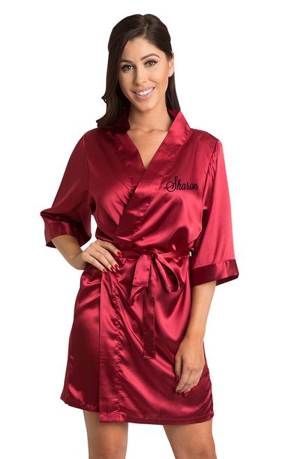 Personalized Embroidered Crimson Satin Robe