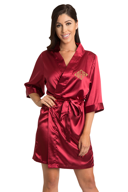 Personalized Embroidered Monogram Crimson Robe