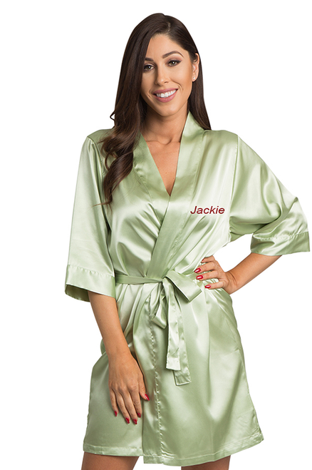 Personalized Embroidered Sage Green Satin Robe