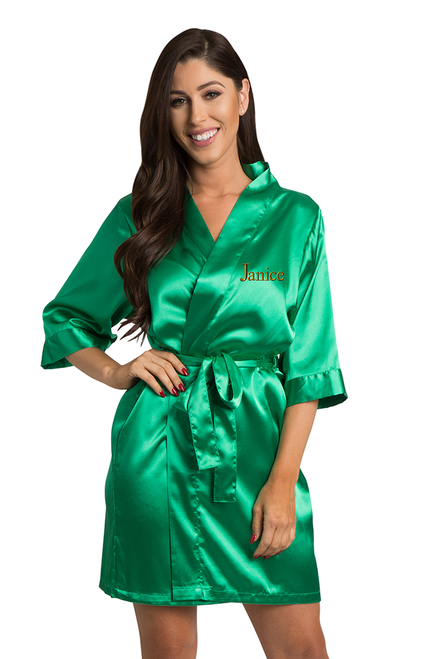 Personalized Embroidered Emerald Green Satin Robe