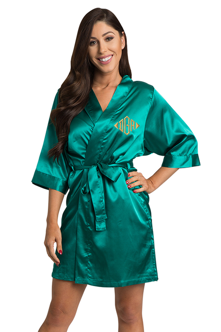 Personalized Embroidered Monogram Teal Robe