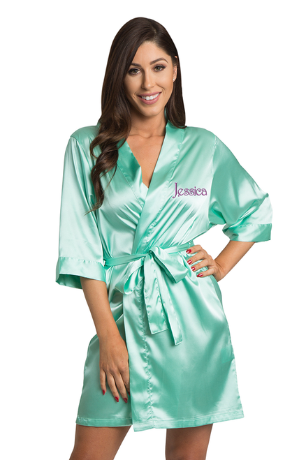Personalized Embroidered Mint Green Satin Robe