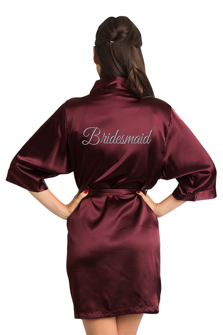 Silver Embroidered Burgundy Bridesmaid Robe
