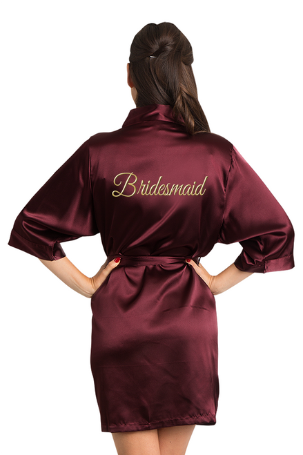 Gold Thread Embroidered Burgundy Bridesmaid Robe