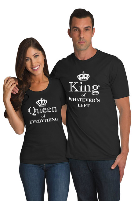 Black Matching Couple T shirt - King and Queen of Everything
