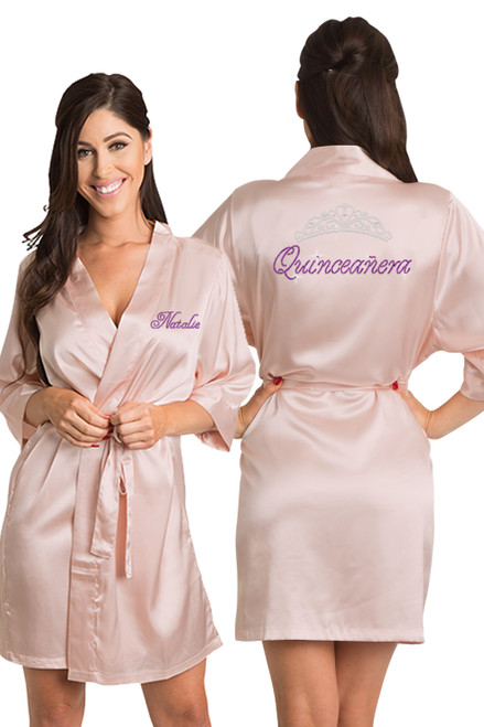 Blush Personalized Rhinestone Quinceañera Robe crop