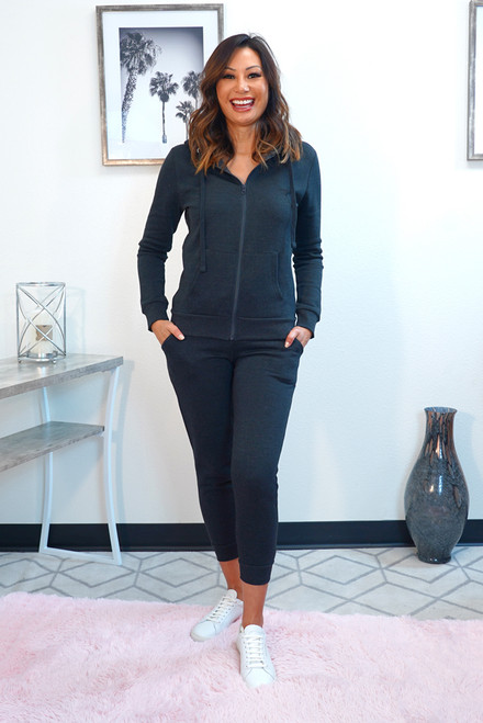 Charcoal jogger set with zip up hoodie for women