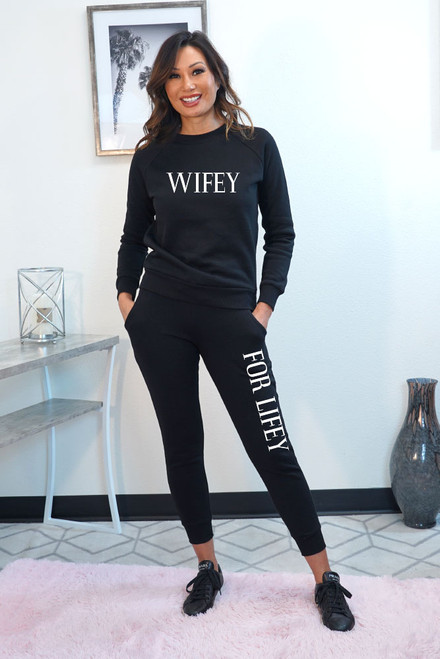 Wifey for Lifey cotton blend Fleece jogger sets in Black