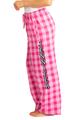 zynotti Women's Custom Print pink Flannel plaid Pajama lounge sleepwear Pants