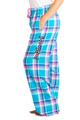 zynotti Women's Custom Print blue Flannel plaid Pajama lounge sleepwear Pants