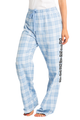 zynotti Women's Custom Print light sky blue Flannel plaid Pajama lounge sleepwear Pants