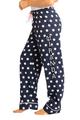zynotti Women's Custom Print navy polka dots Flannel plaid Pajama lounge sleepwear Pants