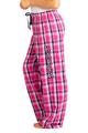 zynotti Women's Custom Print pink navy Flannel plaid Pajama lounge sleepwear Pants